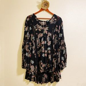 Free People Just the Two of Us Floral Tunic Top M